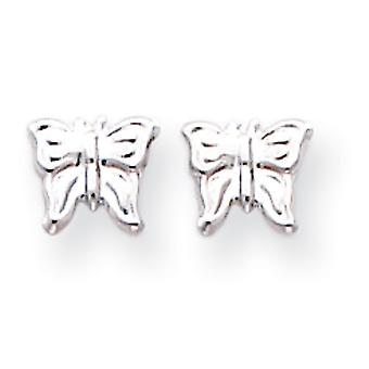 14k Hvid guld poleret Post Øreringe Butterfly Angel Wings Øreringe Foranstaltninger 6x7mm smykker Gaver til kvinder