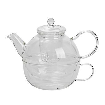 Argon Tableware Glass Tea-For-One Tea Pot, Cup and Sittra Set - 550ml (Czajniczek)