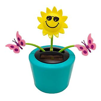 Solar Powered Flower Insekt Rystende Doll Legetøj Home Decor, Bil Dashboard Ornament