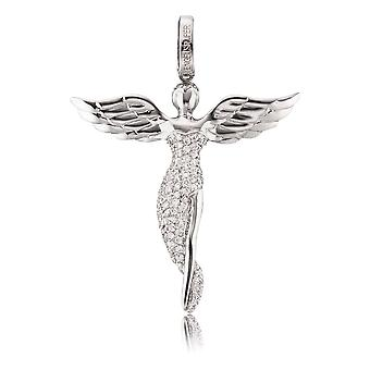 Angel Whisperer Angel Sterling Silver Zirconia Rhodium Banhado Pendente ERP-ANGEL-S