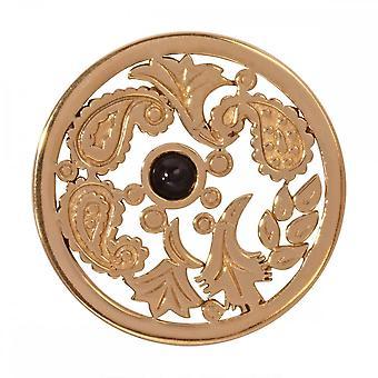 Nikki Lissoni Black Gold Paisley Médio Ouro Banhado Coin C1248GM