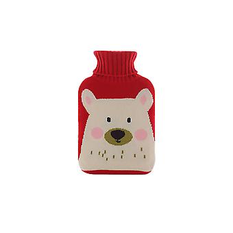 Hot water bottle with soft knitted cloth cover, removable hot water bottle with lid
