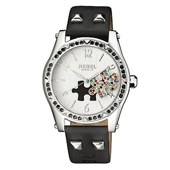 Rebel Women's RB111-4021 Gravesend Crystal Puzzle-Piece Dial Black Leather Watch