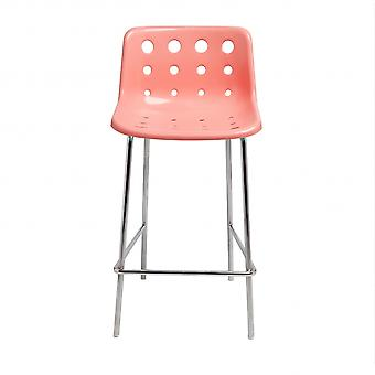Loft Robin Day 4 Leg Coral Pink Plastic Polo Bar Stool