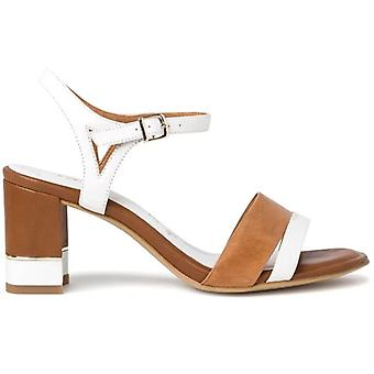 Sandale à talons Tamaris blanc et cognac en cuir