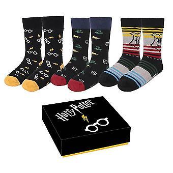 Harry Potter Hogwarts och ikoner Strumpor Gift Set (3 Par)
