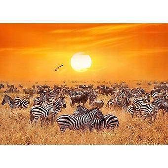 Tapetti Mural Afrikkalainen Antelopes ja seeprat