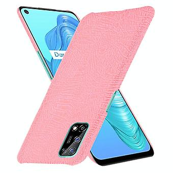 Voor OPPO Realme V5 5G Shockproof Crocodile Texture PC + PU Case(Pink)