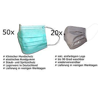 70x Schutzmasken Firmen Set 20x Mundmaske mit Logo und 50x Einweg Mundmaske portofrei
