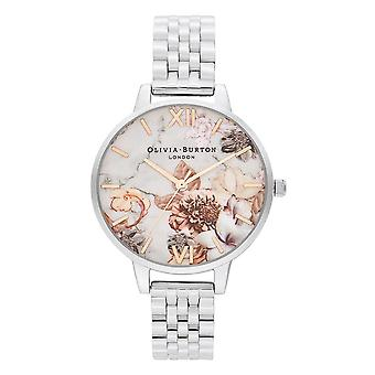 Olivia Burton Ob16cs31 Marble Floral Rose Gold And Silver Bracelet Watch