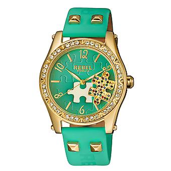 Rebel Women's Gravesend Teal Dial Leather Watch