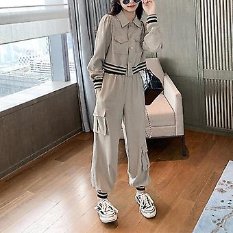 Women Autumn Casual Two Pieces Office Lady Single Breasted Blazers &pants