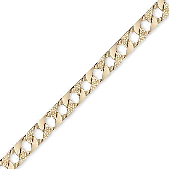 Jewelco London Men's Solid 9ct Yellow Gold London Lizard Curb 9mm Gauge Hand Assembled Cast Chain Necklace