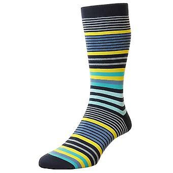 Pantherella Miyako Sea Island Stripe Socks - Navy/Yellow/Blue