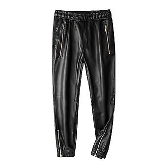 Leather Elastic Waist- Jogger Pants With Zipper Pockets