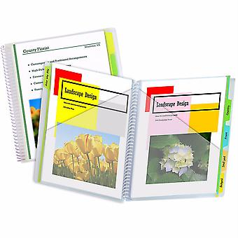 10-Pocket Poly Portfolio With Write-On Index Tabs, Spiral Bound, 5-Tab, Clear With Assorted Color Tabs
