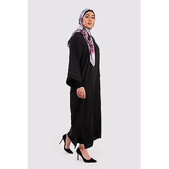 Djellaba rehab long sleeve hooded long maxi dress kaftan abaya in black