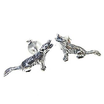 Ylande Wolf Sterling Silver Stud Örhängen 0,925 X 1 Par Howl Wolves Dubbar