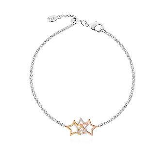 Joma Jewellery Florence Star Bracelet Silver Rose Ouro Ouro 19cm Pulseira Ajustável 4443