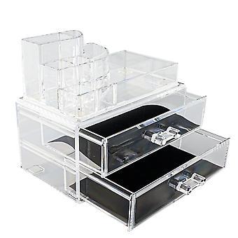 Organizador de maquiagem com 8 compartimentos e 2 gavetas