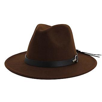 Wool Felt Jazz Fedora Hats, Belt Buckle Decor Women Trilby Cowboy Cap Sunhat