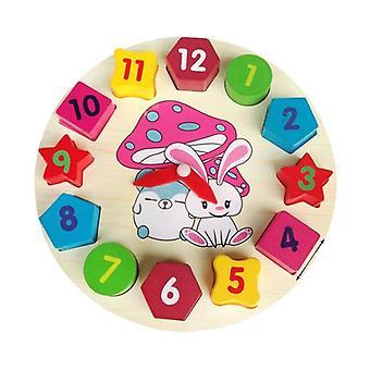 木の幾何学的形状マッチング、就学前の子供のための時計