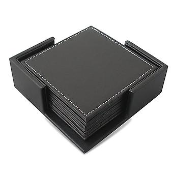 Homemiyn 6pcs Leather Coasters, Coaster Set With Holder, Protect Furniture From Water Marks Scratch And Damage(square)