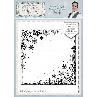 Sentimentally Yours Snowflakes Large Square Frame Pre Cut Stamp