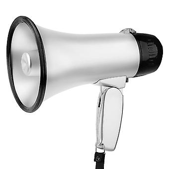 Portable Hand 25 Watt Bullhorn Megaphone With Siren Lithium Battery  (silver)