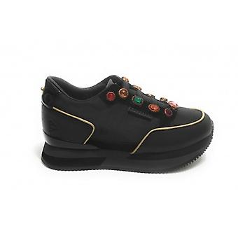 Sneaker Running Apepazza Mod. Queen Running Leather Bottom/ Women's Black Fabric D21ap09