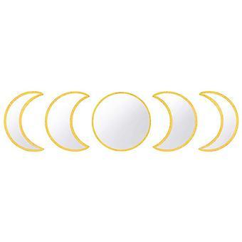 القمر مرحلة مرآة مجموعة الاسكندنافية الطبيعية ديكور acrylic جدار ديكور مرآة الداخلية تصميم القمر الخشبي مرحلة المرآة