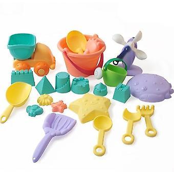 Børn Soft Silicone Beach Sand Box Kit Sæt, Sea Sand Bucket, Rake, Timeglas