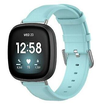 For Fitbit Versa 3 / Sense Genuine Leather Band Replacement Wristband Strap[Light Blue,Small]