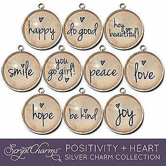 """positivity + Heart"" Set Of 10 Encouraging Jewelry Making Charms"