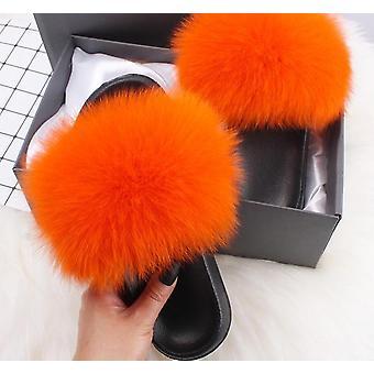 Women Real Fox Fur, Slides Furry, Flat Sandals( Set 1)