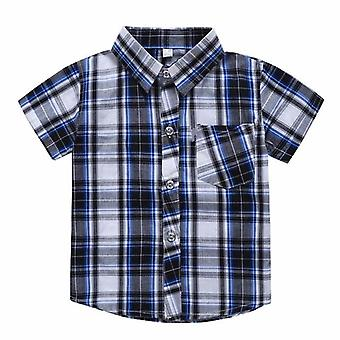 Short-sleeved Plaid Shirt Baby Kids Tops Clothes Shirts Clothing