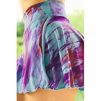 Lila Tie-Dye Doppeldecker High Waist Sport Rock Shorts