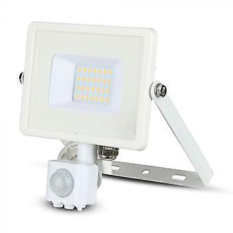V-tac VT-20-S-W PROJECTEUR LED avec capteur - 20 W - 1600 Lm - 4000K - blanc