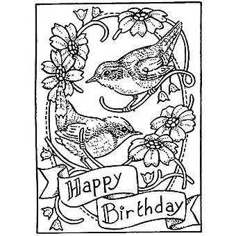 Happy Birthday Wrens Wood Mounted Stamp