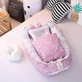 Baby Portable Crib, Newborn Nest Cotton Travel Sleeping Bed, Safety Protection,