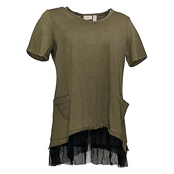 LOGO por Lori Goldstein Women's Top Washed Jersey Green A346165