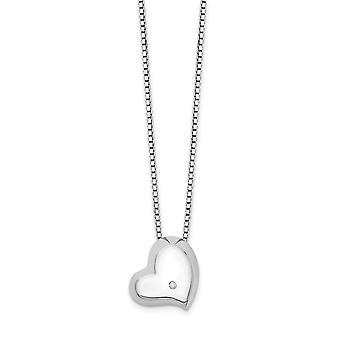 925 Sterling Silver Spring Ring Polerad och satin Vit Isdiamant Kärlekshjärta Halsband 18 Tum Smycken Gåvor för kvinnor