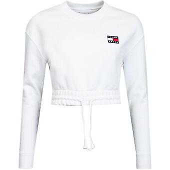 Tommy Jeans Super Cropped Badge Logo Crew Neck Sweat
