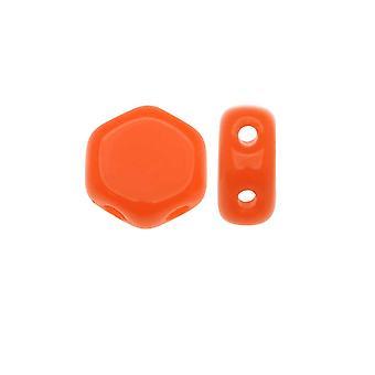 Czech Glass Honeycomb Beads, 2-Hole Hexagon 6mm, 30 Pieces, Orange