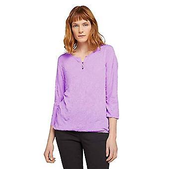 Tom Tailor 1024038 Henley Crincle T-Shirt, 27459 Lilac DOT Design, XS Woman