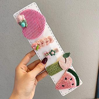 Kinder süße Cartoon gestrickte Blume Obst Schleife Ornament Haarspangen