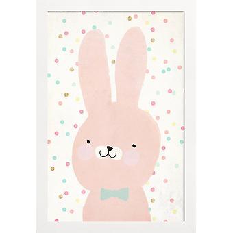JUNIQE Print - Bunny 2 - Kanin plakat i pink og hvid