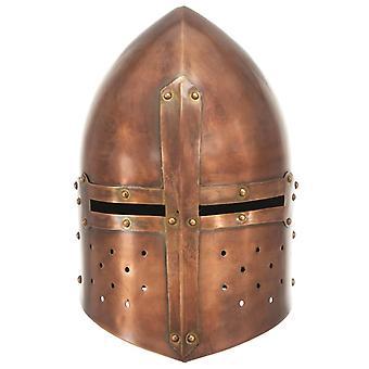 vidaXL Mittelalterlicher Ritterhelm Antik LARP Replik Kupfern Stahl