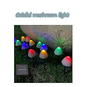5M colorful led solar ground plug mushroom string light outdoor waterproof lscape light dt4936