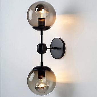 13CM Wrought Iron Double Head Glass Wall Lamp 220V E27 Black Without Bulb